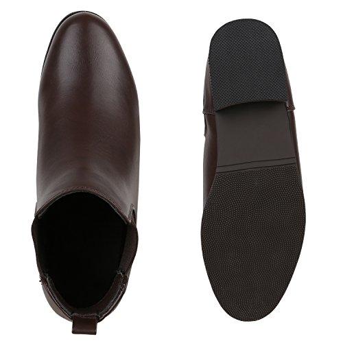 Damen Chelsea Boots | Freizeit Stiefeletten | Pflegeleichtes Obermaterial aus Kunstleder | Gr. 36-41 Dunkelbraun Lederoptik
