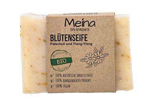 Meina Naturkosmetik – Naturseife - Blütenseife mit Ylang-Ylang und Zitronengras (1 x 110 g) 100% natürliche, vegane, handgemachte Bio Seife mit Bio Mandelöl, Bio Shea Butter, Gesichtspflege und Körperpflege