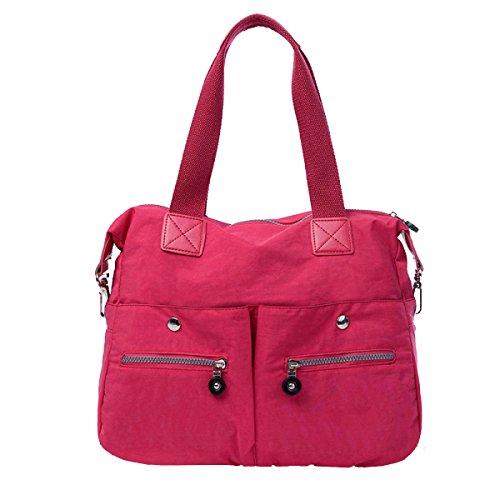 Yy.f Nuovo Di Alta Capacità Portatile Panno Di Nylon Impermeabile Spalla Mobile Messenger Zaino Pratico Interna Multicolore Pink