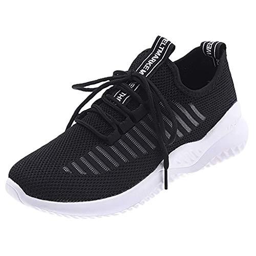 Damen Sportschuhe Fliegen Weben Sneaker Socken Schuhe Turnschuhe Freizeitschuhe Student Schnürschuhe Laufschuhe, Schwarz