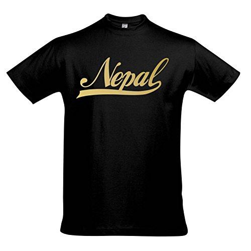 T-Shirt - Nepal Oldschool Nepal LÄNDERSHIRT EM / WM FAN Trikot S-XXL , Deep black - gold , XXL