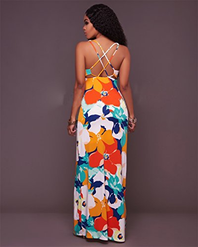 Womens reizvolles Sleeveless Drucken-Verband-langes Kleid-dünnes Maxi Kleid-Abend-Kleid Rot