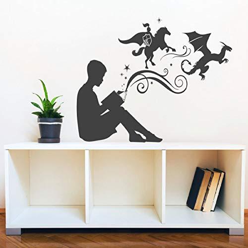 Geiqianjiumai Junge liest magisches Buch wandaufkleber wohnkultur Schlafzimmer Dekoration wandbild wandaufkleber kinderzimmer Wohnzimmer bibliothek schwarz 42x28 cm