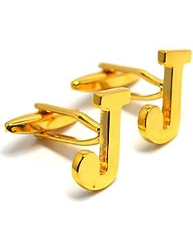 MESE London Buchstaben Alphabet Buchstaben Manschettenknöpfe Initiale - Buchstabe J Goldene