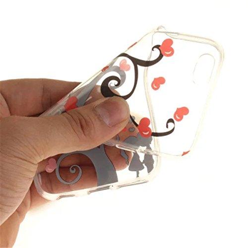 iPhone 6 Hülle, iPhone 6S Hülle, Gift_Source [ Rhododendron ] Hülle Case Transparent Weiche Silikon Schutzhülle Handyhülle Schutzhülle Durchsichtig TPU Crystal Clear Case Backcover Bumper Case für iPh E1-Kuss
