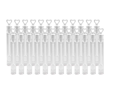Cupcinu 48-Pack Hochzeit Zauberstab, Herz Tube Bubble Wedding Favours Tisch Deko Party Zubehör, Plastik, 24 Pcs/Set, 24 Pcs (Bubbles Tube Herz)