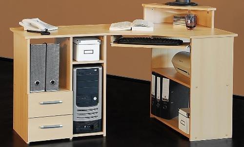 Eck-Schreibtisch buche dekor 137cm breit- Schreibtisch buche - (292)
