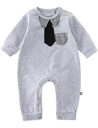08aa821666a66 GEMVIE Combinaison Bébé Fille Garçon Grenouillère Nouveau-Né Respirant Body  Cravate Manches Longues Pyjama en Coton Barboteuse…