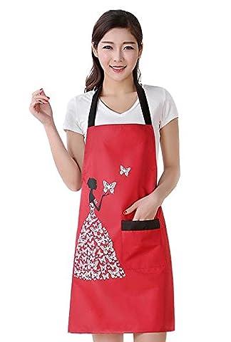 Moolecole Frauen Schürze Wasserdichte Latzhose Anti Öl Fleck Erwachsene ärmel PVC Schmetterling Pinafore Schürze Mit Einem Taschen Für Backen Kochen (Einfache Katzen-kostüm Für Arbeit)