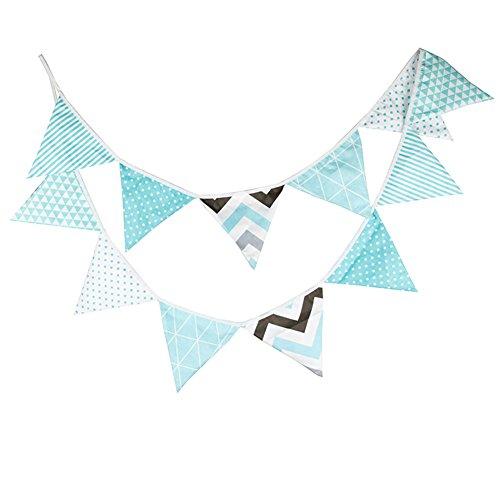 Dreieck Wimpel Bunting Farbenfroh Wimpel Wimpeln Wimpelkette auf Baumwolle Fahnen Banner für Weihnachts Hochzeit Geburtstag Party Dekor ()