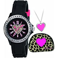 Tikkers Girls Animal Print Black Watch, Purse and Pink Heart Necklace Gift Set