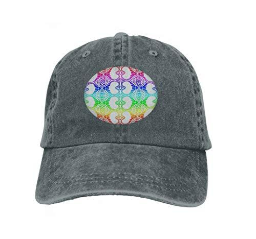Unisex Adult Baseball Cap Trucker Hat Cowboy Hat Hip Hop Sports Snapback Colorful Rainbow Colors Hearts Heart Distribution Pattern ti Carbon