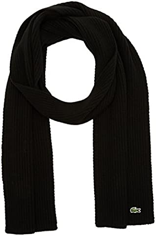 Lacoste Ribbed - Echarpe - Homme - Noir (Black) - Taille unique (Taille fabricant: One Size)