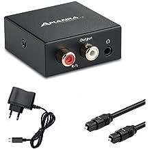 AMANKA Convertisseur Numérique vers Analogique Audio Adaptateur RCA L/R 3.5 mm Sortie Casque Stéréo avec Câble Optique et Adaptateur 5V/DC