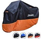 SMARCY Housse de Protection pour Moto, Bâche Moto XXXL, Abris Moto Extérieur, Couverture Polyester pour Moto Scooter, Noir Orange, 295 * 110 * 140 CM