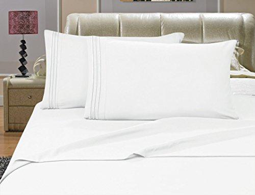 Elegance Linen Bettwäsche-Set, knitterfest, Fadenzahl 1500, seidig weich, luxuriös, 4 Stück, Tiefe Taschen, bis 40,6 cm, Weiß -