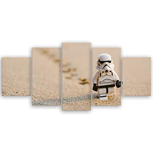 ge Bildet® hochwertiges Leinwandbild - Stormtrooper IV Walking - 150 x 70 cm mehrteilig (5 teilig)