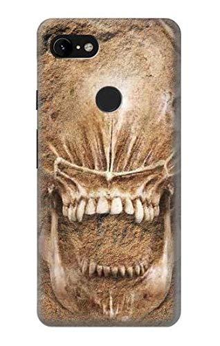 Innovedesire Alien Skull Fossil Hülle Schutzhülle Taschen für Google Pixel 3 XL