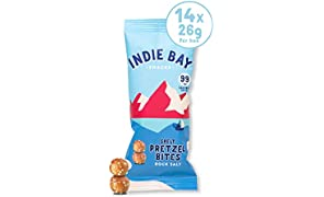 Indie Bay Snacks Low Calorie Pretzel Bites - Vegan - All Natural - Source of Fibre & Protein - Healthy Snack - Spelt & Rock Salt (14 x 26g)