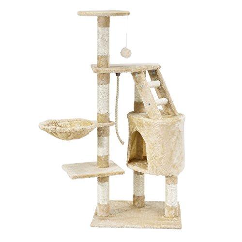 Sam`s Pet Kratzbaum Buffy (Beige) - Mittelhoch - 118 cm Hoher Kletterbaum für Katzen – inkl. Dicken Sisalstämmen, Höhle, Liegemulde, Aussichtsplattformen & Spielseil