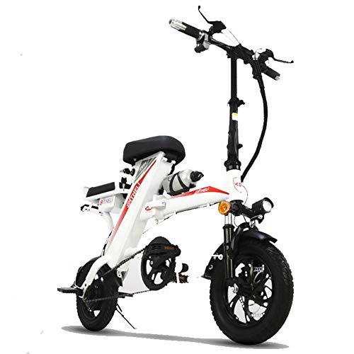 KASIQIWA Faltbares elektrisches Fahrrad, MiniSmall Faltbares elektrisches Fahrrad 350W Lithiumbatterie 48V / 20AH Zweisitziger bürstenloser Motor 25-30km / h Geschwindigkeit,White
