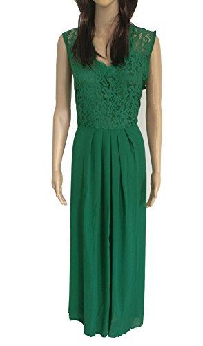 Donna abito senza maniche con scollo a v retrò (40, green)