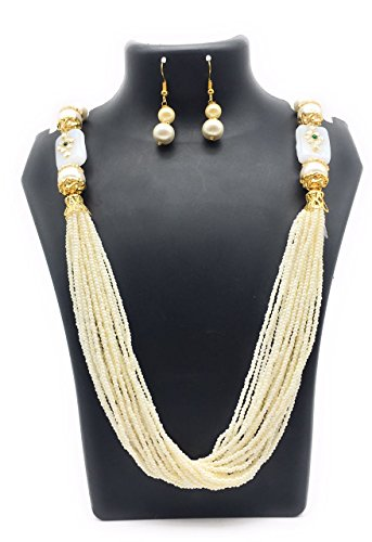 Satyam Kraft Traditional Kundan Pearl white rani haar Necklace Set For Women for wedding/diwali jewellery/traditional jewellery/jewellery for women/pearl jewellery/kundan jewellery/ethnic necklace/party necklace  available at amazon for Rs.349