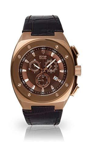 DETOMASO Como Herren-Armbanduhr Chronograph Analog Quarz Edelstahlgehäuse Lederarmband - Jetzt mit 5 Jahren Herstellergarantie (Leder - Braun)