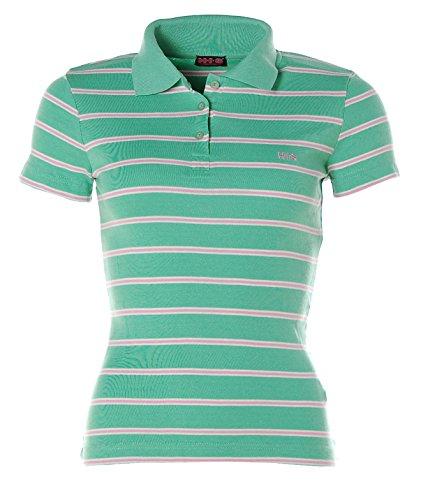 HIS Damen Kurzarm Shirt Polokragen Poloshirt Streifen Grün