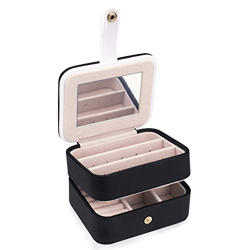 LELADY JEWELRY Small Travel Jewellery Box Mini Jewellery Case Built in Mirror and Magnetic Closure, Portable Faux Leather Jewellery Storage Boxes Organiser for Women Girls (Black)