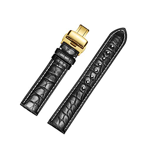 Alligator Leder Runde Muster Ersatz Uhrenarmbänder mit Deployment Gold Buckle (18mm, Schwarz)