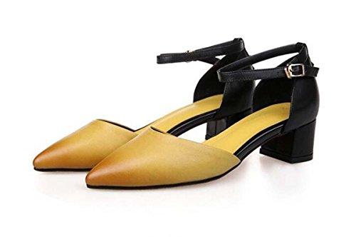 39 Red Europa Heels Schuhe Rot 34 Pumps Low Gelb Einfache Spitz Casual Mädchen Größe Vintage Sommer Beauqueen Sandalen zehe Frauen Standard ZwzwHq