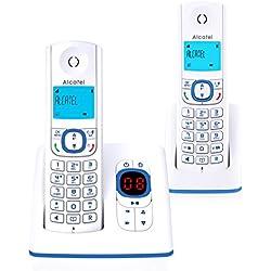 Alcatel F530 Voice Duo - Téléphone sans fil DECT aux coloris contemporains, Répondeur intégré, Mains libres, Ecran rétroéclairé, Sonneries VIP, 10 mélodies d'appel - Blanc/Bleu