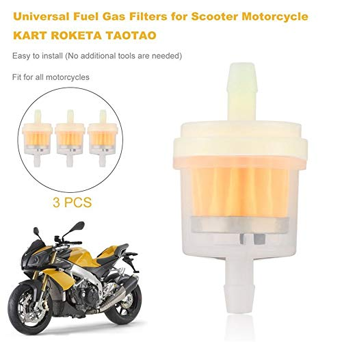 Wenwenzui-ES 3 STÜCKE Universal Benzinfilter für Roller Motorrad Kart ROKETA TAOTAO Orange