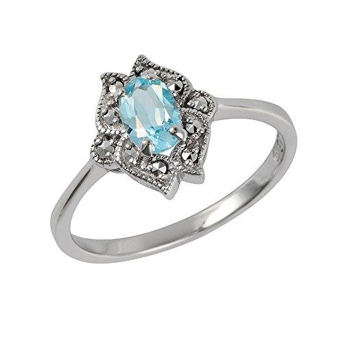 Esse Marcasite Ring Sterling Silber rhodiniert blau Topas Jugendstil Größe–L