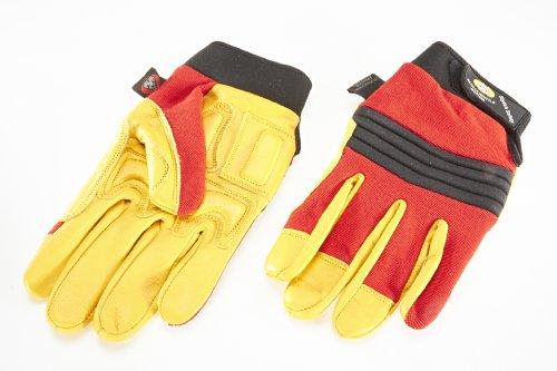 Hochwertiges Echtleder Mechanics-Handschuh / Anti Vibration-Handschuhe, Stoßdämpfender Gloves., Gepolstert mit Gel, Fingerlos, Größe. -