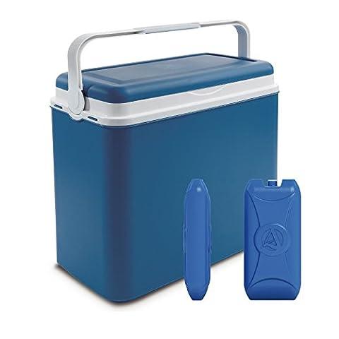 Grande glacière de camping 24litres avec 2pains de glace, bleu jean, Cooler Box + 2 Ice Packs