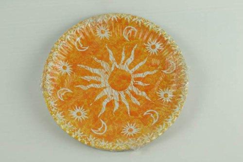 10 assiettes plates jaune soleil motifs lunes Ø 24 cm [007265]
