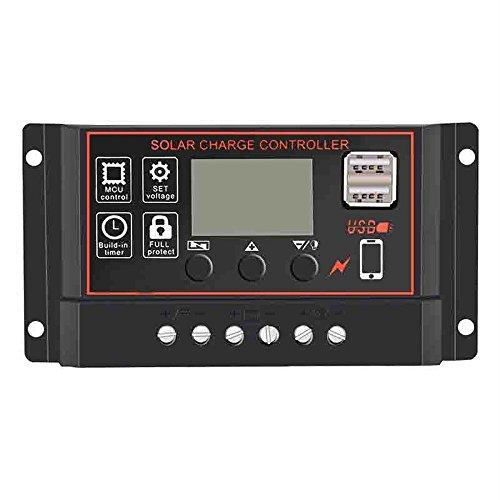 Wokee 40A / 50A / 60A Solar Ladegerät Controller Controller Batterie Laderegler Solar Panel Batterie Intelligente Regler mit USB Port Display 12 V / 24 V Auto Mit Dual USB (B) - Solar-power-auto-batterie-ladegerät