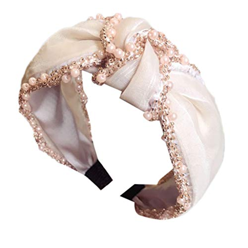 Scrolor Schöne Haarband für Frauen Stirnband Stoff Hairband Haarschmuck Einfarbig Mesh Perlen Dekoration(Beige,free)