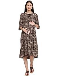 Mine4Nine Women's Rayon Maternity Midi Dress (Dark Brown, MNDR5702)