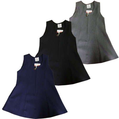 Schule Uniform Pini Latzschürze Kleid mit Herz Zip Flare Stil Marineblau Schwarz Grau, grau, 4-5 Jahre (Jeans Herz Flare)