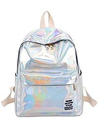 Mujeres holograma PVC mochilas niñas Hombro escuela mochila mujeres pequeñas cuero holográfico ...