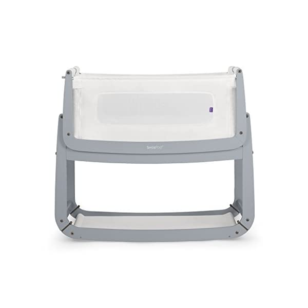 SnuzPod 3 Bedside Crib - Dove Grey Snuz SnuzPod 3 has added functionality, a lighter bassinet and a more breathable sleeping environment. More than just a bedside crib; use as a bedside crib, stand alone crib or moses basket/bassinet. Simply attach the crib to your bed using straps provided (fits frame and divan beds) and your ready use as a bedside crib. The 9 different height settings allow you to ensure the crib is the right height for your bed (31-63cm) New! SnuzPod 3 now comes with an optional reflux function, by tilting the crib and setting an incline to reduce reflux symptoms little one can get a better nights sleep. 1