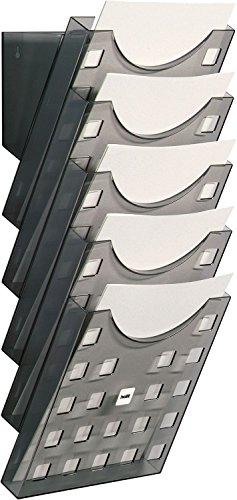 """Helit H6103108 - Wandprospekthalter """"the grid wall"""" 5 x DIN A4, grau transparent"""