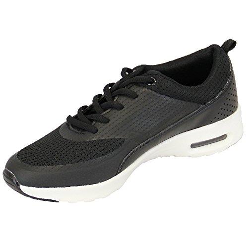 Femmes Baskets Chaussures Jogging Lacet Course Sport Gym Maille Décontracté Neuf Noir - BL265