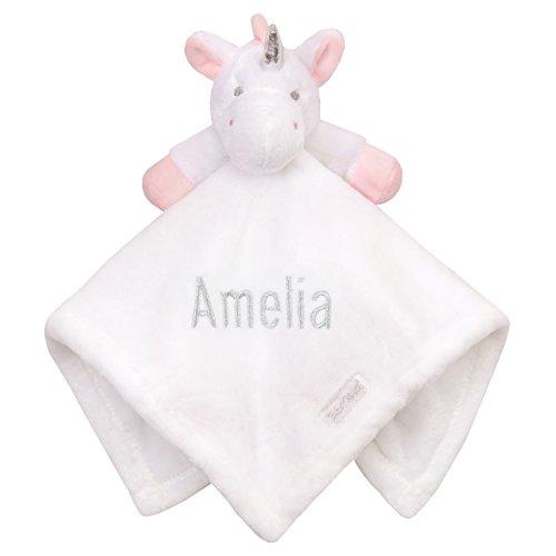 Personalisiertes Einhorn bestickt Baby Tröster Sparkle Weiß Neugeborene -