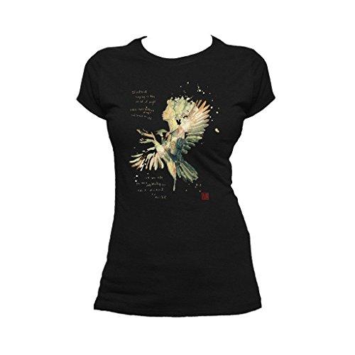Beatles David Mack Blackbird Official Women's T-Shirt (Black) (X-Large) -