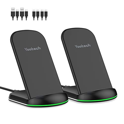 yootech Wireless Charger 10W,2-Pack Qi Fast induktive Ladegerät Wireless Ladestation induktion für iPhone 11/11 Pro/11 Pro Max/XS MAX/XR/XS/X/8/8 Plus,Galaxy Note 10/S10/S9/S9 Plus/Note 8/S8/S7 usw.