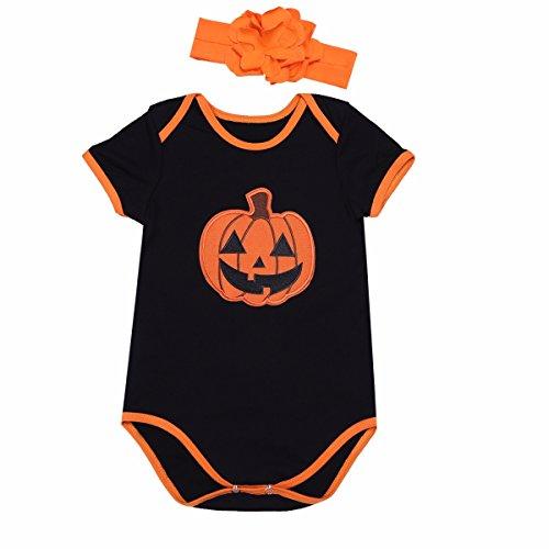 FEESHOW Baby Mädchen Spielanzug Overalls Kürbis Gedruckt Strampler mit Stirnband Baby Halloween Kostüm Schwarz & Orange 68/3-6 (Passende Für Halloween Kostüme Drei)